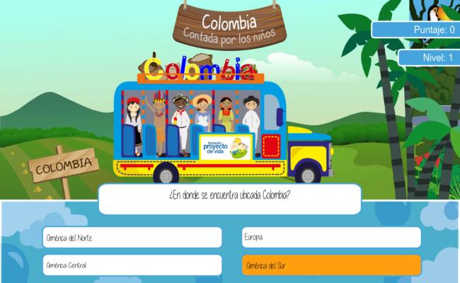 5 Pantalla ( parte interna del juego viajando por Colombia